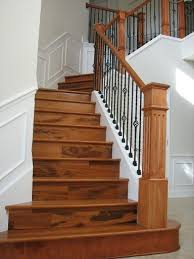 new wood staircase,was carpet tropical-staircase