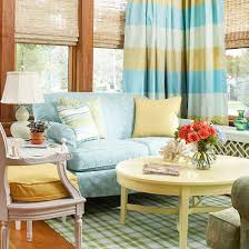 ... living room with small blue accents A cheerful combination of yellow ...