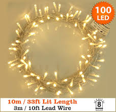 fairy lights 100 led warm white string lights 10 meter of clear cable low voltage power operated for indoor and outdoor use home city ltd
