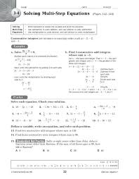 solving multi step equations worksheet answers form