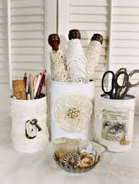 shabby chic office accessories. diyrecycled tin cans need this to organize my make up brushes and shabby chic office accessories