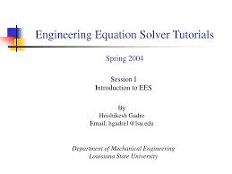 engineering equation solver tutorials spring 2004 powerpoint ppt presentation