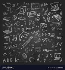 School Chalkboard Background Back To School Doodles In Chalkboard Background Vector Image