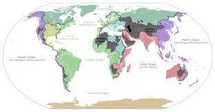 Мировой океан Википедия Карта водосборных бассейнов Мирового океана