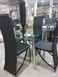 square dining table for 4. Compact Square Dining Table And 4 Chairs, Black Border Tempered Glass Faux For Q