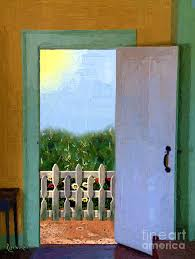 looking out door. Door Painting - Looking Out My Back By RC DeWinter U