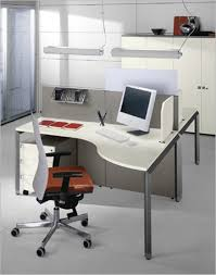 small office space. Topnotch Small Office Space Table In Grey And Bright Touches With Modern Swivel Chair Under Two Floating Lamps At House Concept