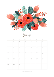 Printable July 2018 Calendar Monthly Planner Flower Design A