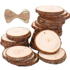 natural wood slices 30 pcs unfinished predrilled 1 9 2 4 round discs wooden circles for centerpieces coasters ornaments diy crafts 30 pcs