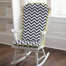 white wooden rocking chair. Furniture. White Wooden Indoor Rocking Chairs With Black Zigzag Striped Cushions Set On Brown Chair