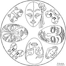 Mandala Kleurplaten Carnaval Maskers