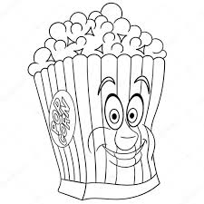 Kleurboek Kleurplaat Kleuren Foto Popcorn Stockvector Sybirko