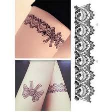 Dočasné Tetování Tattoo Nohy části Sexy Punčochy Krajky Tetování Samolepky černé At Vova
