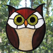 simple owl stained glass pattern image and description