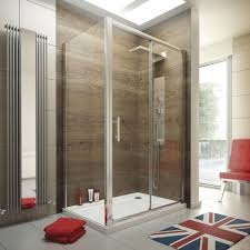 1100 x 900 sliding door shower enclosure glass cubicle with stone tray and waste