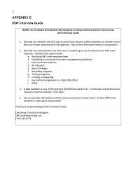 appendix d dot interview guide emergency medical services page 72