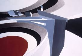 zaha hadid perspective painting of bent tnik acrylic and pencil on cream cardstock
