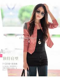 2016 women s pink coat jacket leather clothing pu leather jacket korean round neck locomotive suit from