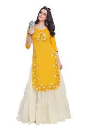 Apple Cut Kurti Design Shop Shanaya Tapasyaa Apple Cut Straight Kurti Yellow Online In Dubai Abu Dhabi And All Uae
