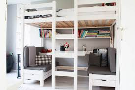 White Bunk Bed Design With Table