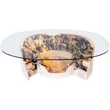 colosseum mix wood round glass top coffee table cocktail table by po shun leong for