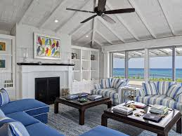 White Washed Wood Ceiling Stunning Blue And White Living Room Living Room Ralph Lauren Open
