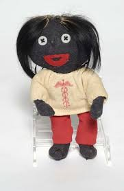 FOLK ART - DOLL.) Sock doll, 7 inches tall; button eyes, ha