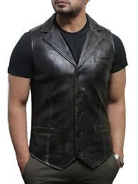 men s vintage black smart leather waistcoat designer fit ansel jpg