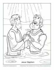 Jesus Baptism Coloring Page Childrens Bible Activities Sunday