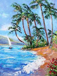 customize high quality beautiful landscape oil painting on canvas for living room decoration summer beach oil