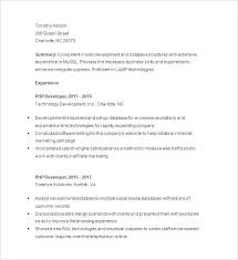 Php Developer Resume Free Developer Resume Download Php Developer