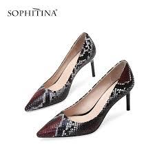 Snake Design Shoes Sophitina Fashion Snake Skin Design Pumps Sexy High Thin