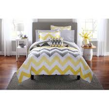 Kohls Bedroom Curtains Mainstays Yellow Grey Chevron Bed In A Bag Bedding Comforter Set