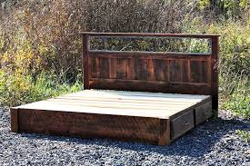rustic platform bed. Custom Made Rustic Platform Storage Bed In Solid Reclaimed Oak And Wrought Iron 4 Drawers M