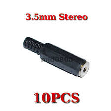 pcs mm stereo female plug jack adapter connector image is loading 10pcs 3 5mm 1 8 034 stereo female