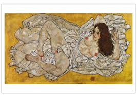 portrait canvas paintings mural prints masterpiece reion reclining woman 1917 by egon schiele in wall stickers from home garden on