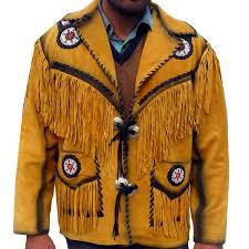sleekhides men s indian fringed beaded cowboy leather coat