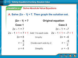 solving equations involving absolute value worksheet 2 5 answers
