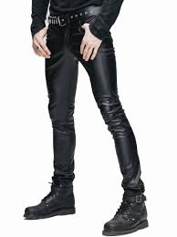 steampunk man close pants men s winter stretch tight leather pants black long trousers male gothic clothing