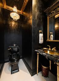 Black and gold furniture Dining Room View In Gallery Traditional Powder Room In Gold And Black design M Wright Design Decoist 15 Refined Decorating Ideas In Glittering Black And Gold