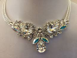 clear crystal bridal teardrop bib necklace product images of
