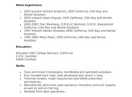 resumes for dental assistant dental assistant resume skills districte15 info
