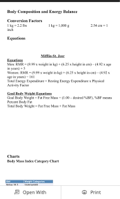 Energy Expenditure Chart For Activity Solved Basic Nutrition Nut 00200 Homework Assignment 3