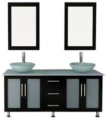 59 double lune large glass vessel sink modern bathroom vanity with glass top