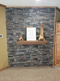 stacked stone accent wall in canyon gray