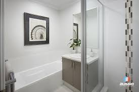 the contempo display home has a stylish neutral colour themed bathroom
