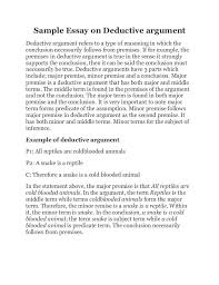 sample essay on deductive argument sample essay on deductive argument deductive argument refers to a type of reasoning in which the