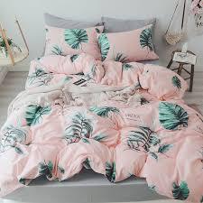 leaf bedding set pink bed cover zipper