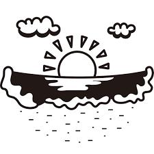 自然 海砂浜モノクロ 無料イラストpowerpointテンプレート