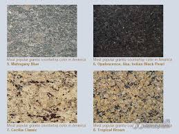 granite countertop colors in america are as following